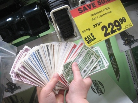 A fistful of canadian Tire dollars!